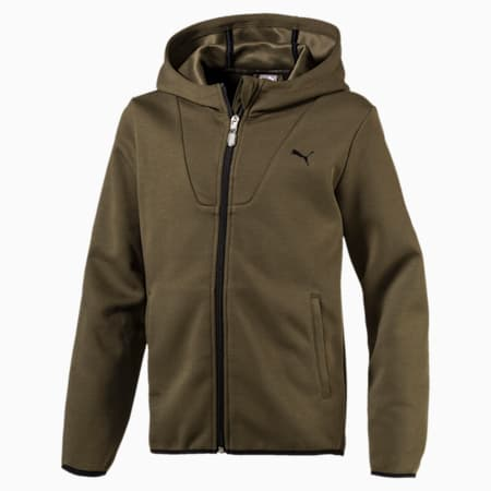 Boys' Running and Training Tech Full Zip Hoodie, Olive Night, small-IND