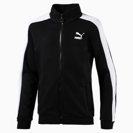 Boys' Classic T7 Track Jacket, Cotton Black, small-IND