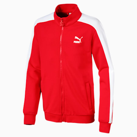 Boys' Classic T7 Track Jacket, Flame Scarlet, small-IND