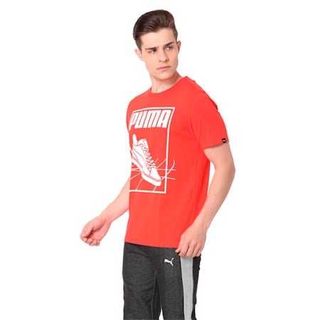 PUMA Track Tee Cotton Black, Flame Scarlet, small-IND