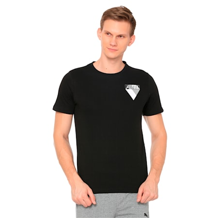 Men's Graphic Brand Tee, Cotton Black, small-IND