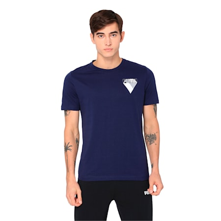 Men's Graphic Brand Tee, Peacoat, small-IND