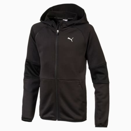 Boys' Gym Full Zip Hoodie, Puma Black, small-IND