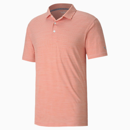 Caddie Striped Men's Golf Polo Shirt, Pureed Pumpkin Heather, small-IND