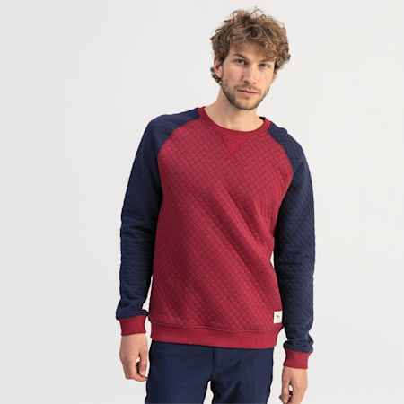 Quilted Men's Golf Sweater, Rhubarb Heather, small