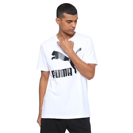 Classics Logo Men's Crew Neck T-Shirt, Puma White, small-IND