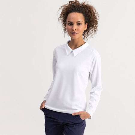 Long Sleeve Women's Golf Polo, Bright White, small