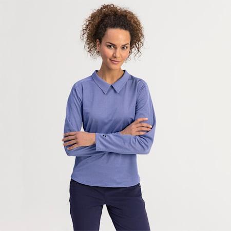 Long Sleeve Women's Golf Polo, Dazzling Blue, small