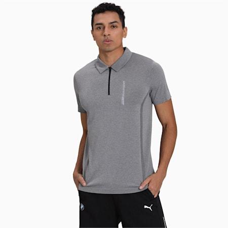 BMW Motorsport evoKNIT Short Sleeve Men's Polo Shirt, Medium Gray Heather, small-IND