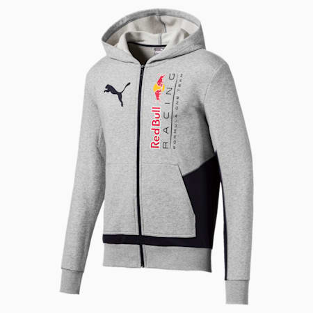 Red Bull Racing Men's Hooded Sweat Jacket, Light Gray Heather, small