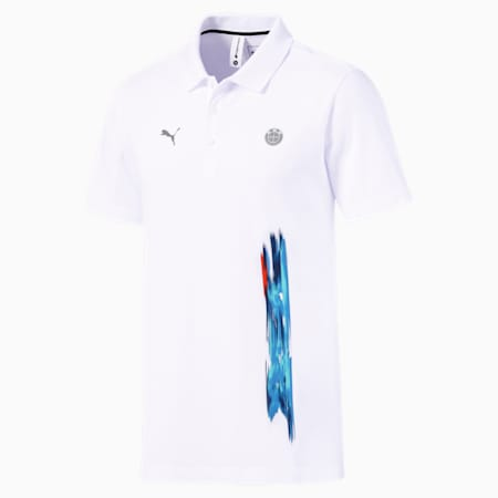 BMW M Motorsport Life Graphic Men's Polo Shirt, Puma White, small-IND
