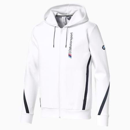 BMW M Motorsport Hooded Men's Sweat Jacket, Puma White, small-SEA