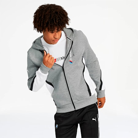 BMW M Motorsport Men's Hooded Sweat Jacket, Medium Gray Heather, small