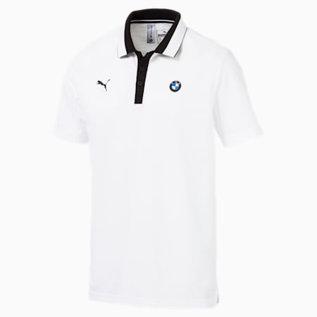 BMW M Motorsport Men's Polo Shirt, Puma White, small-IND