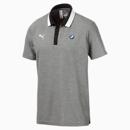 BMW M Motorsport Men's Polo Shirt, Medium Gray Heather, small