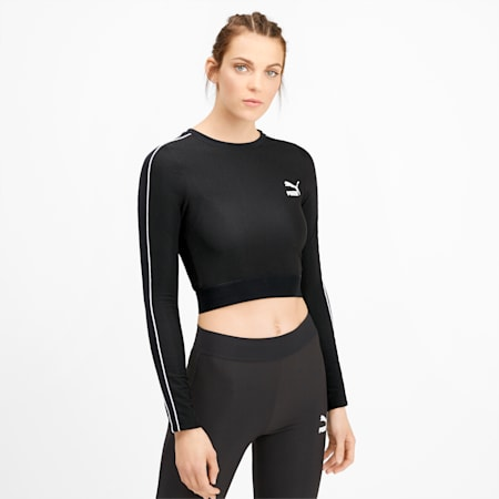 Classics Rib Cropped Long Sleeve Women's Top, Puma Black, small-SEA