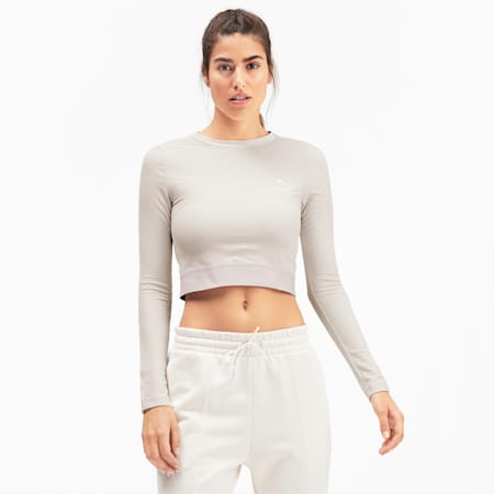 Classics Rib Cropped Long Sleeve Women's Top, Pastel Parchment, small-SEA