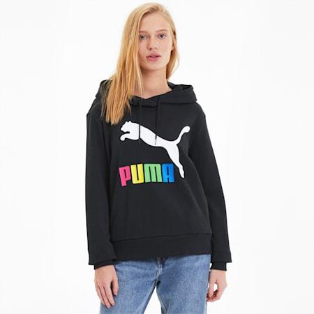 Sudadera con capucha y logotipo Classics para mujer, Puma Black-multi colour OG, small