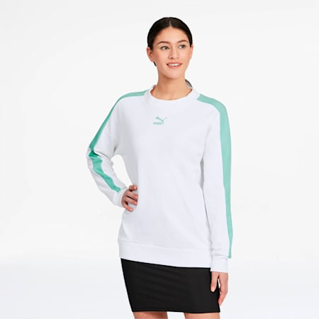 Classics T7 Women's Crewneck Sweatshirt, Puma White, small