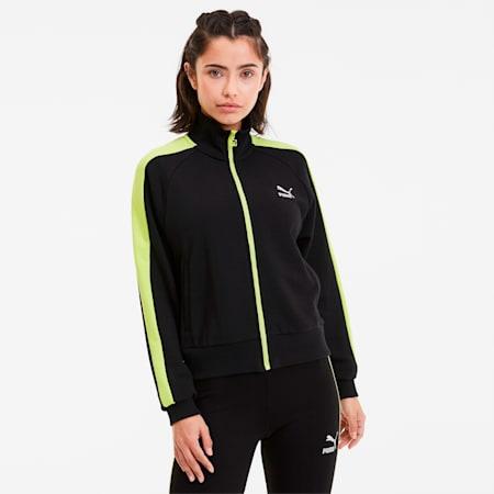Classics T7 Women's Track Jacket, Puma Black-Sunny Lime, small-SEA