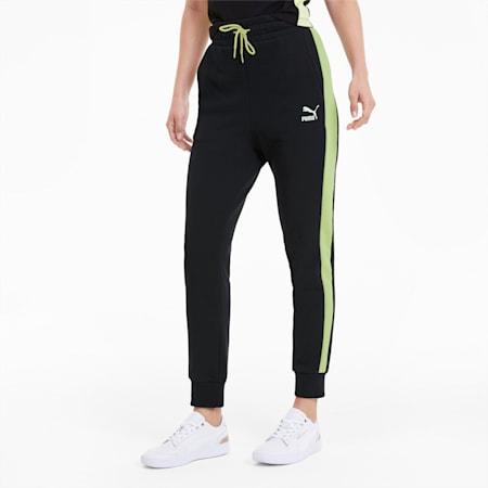 Classics T7 Knitted Women's Track Pants, Puma Black-Sunny Lime, small-SEA