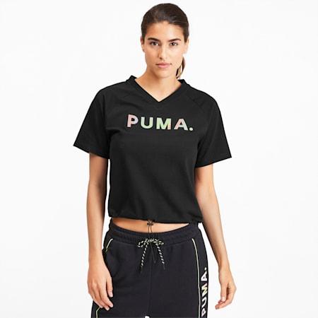 Chase V-neck Women's Tee, Puma Black, small-SEA