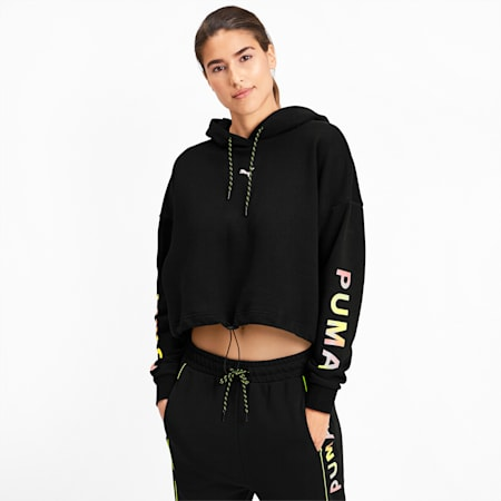 Chase Cropped Women's Hoodie, Puma Black, small-SEA