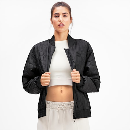 Woven Women's Bomber Jacket, Puma Black, small