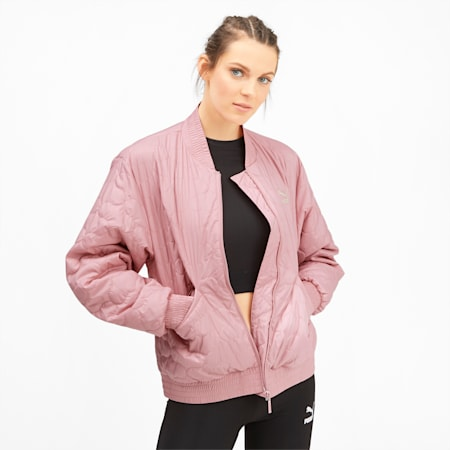 Woven Women's Bomber Jacket, Bridal Rose, small