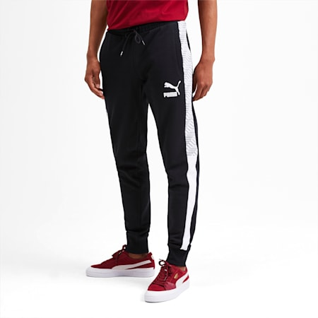 T7 Men's AOP Track Pants, Puma Black-Repeat logo, small