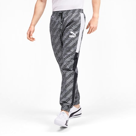 T7 AOP Panel Men's Track Pants, Puma Black-Repeat logo, small