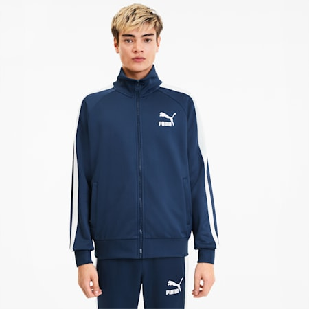 Iconic T7 Men's Track Jacket, Dark Denim, small