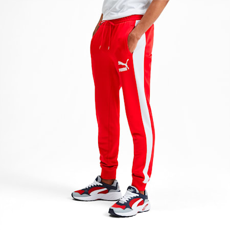 Iconic T7 Knitted Men's Track Pants, High Risk Red, small-SEA