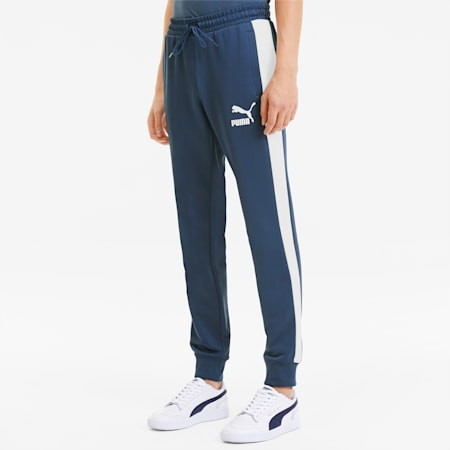 Iconic T7 Knitted Men's Track Pants, Dark Denim, small
