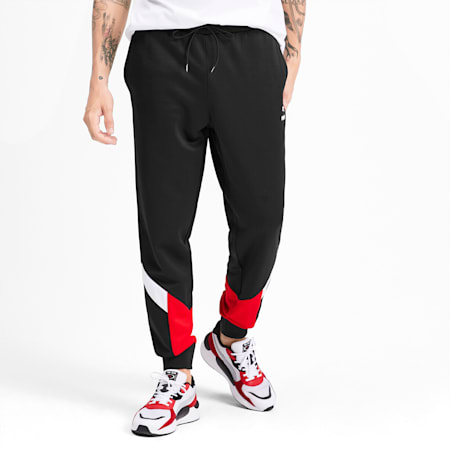 Iconic MCS Knitted Men's Track Pants, Puma Black-Red combo, small-SEA