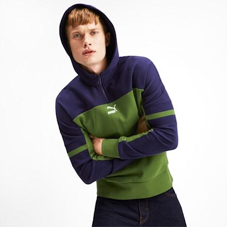 Chaquete PUMA XTG con capucha y cierre de un cuarto para hombre, Garden Green, pequeño
