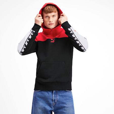 PUMA XTG Men's Quarter Zip Hoodie, Puma Black-Red combo, small