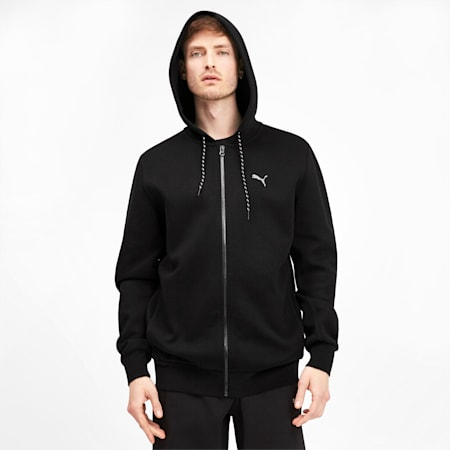 Epoch Long Sleeve Full Zip Men's Hoodie, Puma Black, small-SEA