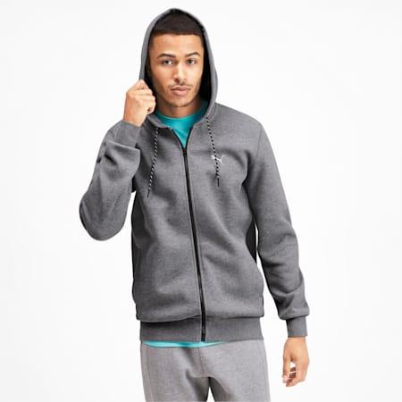 Epoch Long Sleeve Full Zip Men's Hoodie, Medium Gray Heather, small-IND