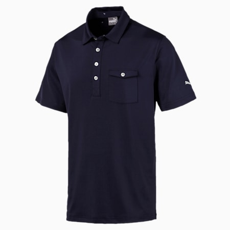 Donegal Men's Golf Polo, Peacoat, small-SEA