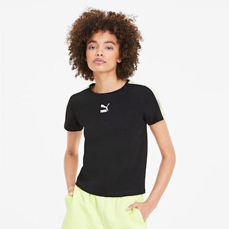 Classics Tight Women's Top, Puma Black-Sunny Lime, small-SEA