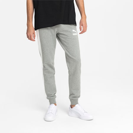 Iconic T7 Men's Track Pants, Medium Gray Heather, small