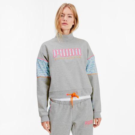 PUMA x SOPHIA WEBSTER Women's Crewneck Sweatshirt, Light Gray Heather, small