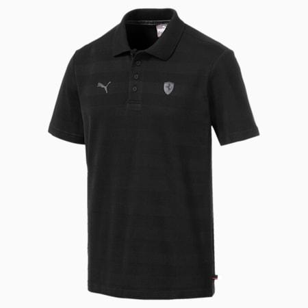 Ferrari Striped Men's Polo Shirt, Puma Black, small-IND