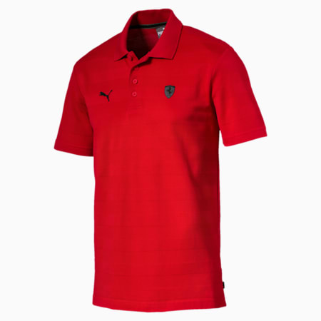 Ferrari Striped Men's Polo Shirt, Rosso Corsa, small-SEA