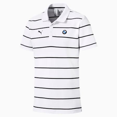 BMW M Motorsport Striped Men's Polo Shirt, Puma White, small-IND