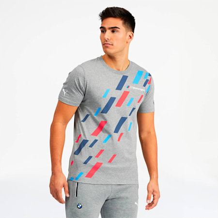 BMW M Motorsport Men's Graphic Tee, Medium Gray Heather, small