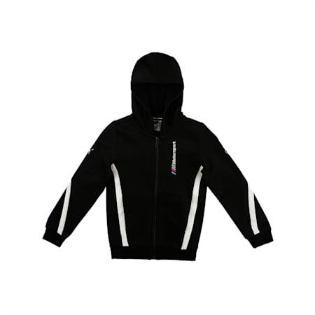 BMW M Motorsport Hooded Boys' Sweat Jacket, Puma Black, small-IND