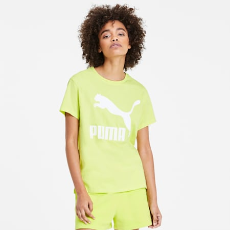 Classics Logo T-shirt voor dames, Sunny Lime, small