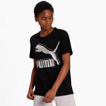 Classics Logo Women's T-Shirt, Puma Black-metallic, small-IND